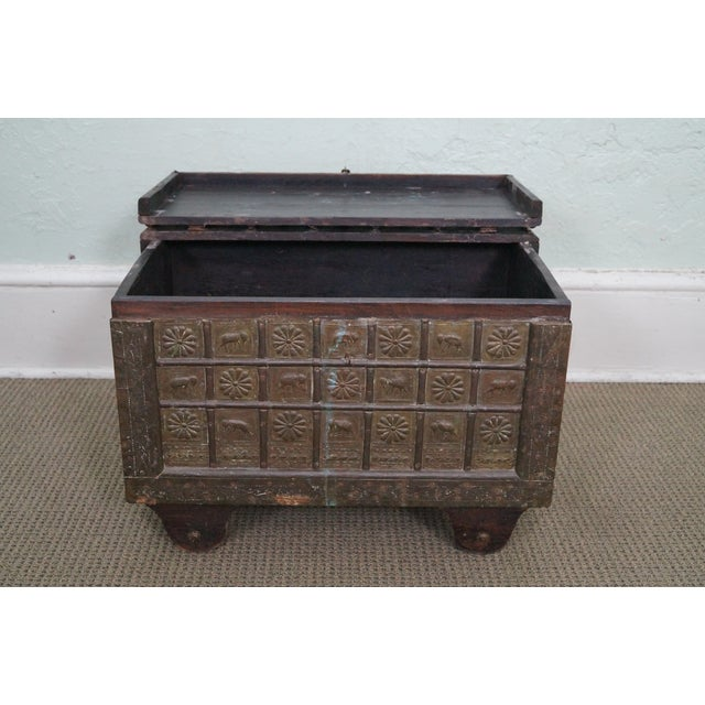 Antique Moroccan Iron & Brass Bound Lidded Chest - Image 3 of 10