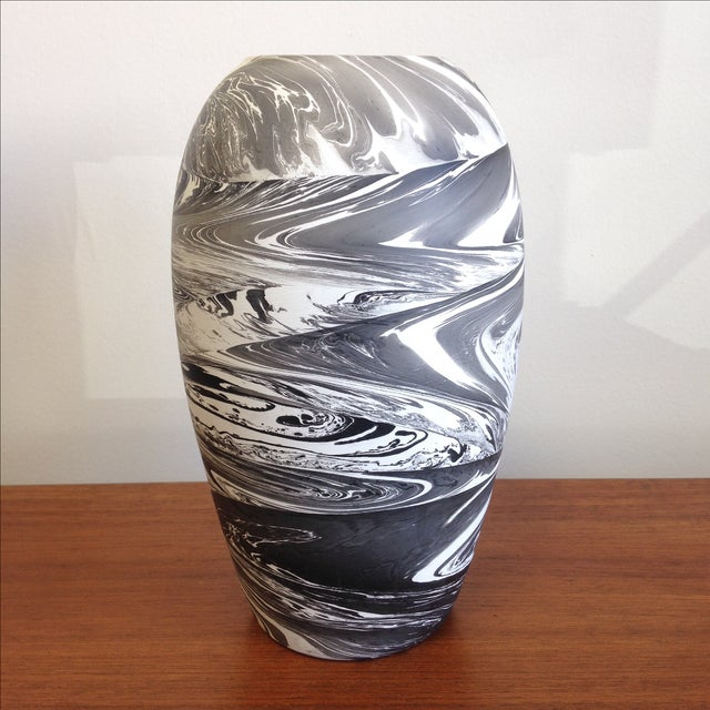 Hand Painted Marbelized Ceramic Vessel - Image 2 of 6