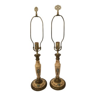 Chelsea House Tole Painted Lamps - A Pair