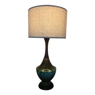 Mid-Century Modern Green Glaze Ceramic Table Lamp