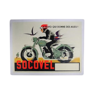 1948 Belgian Art Deco Socovel Motorcycle Advertising Poster