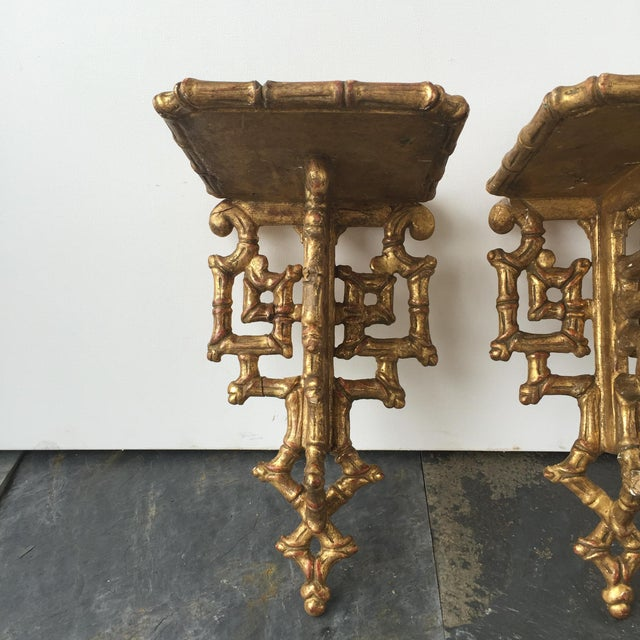 19th C. Giltwood Faux Bamboo Wall Brackets - A Pair - Image 2 of 6