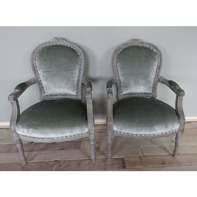 Image of Pair of Louis XVI Style French Painted Armchairs