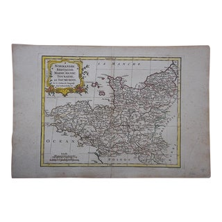 Antique 18th C. Map-France-Normandy