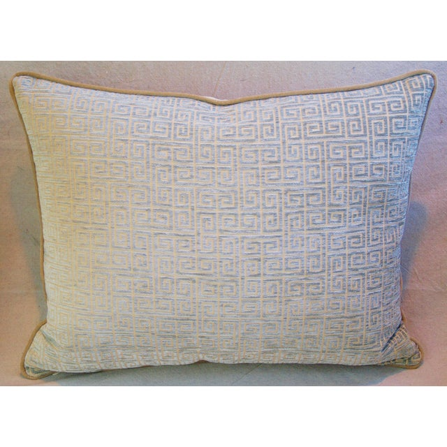 Designer Teal-Sea Mist Greek Key Velvet Pillow - Image 3 of 5