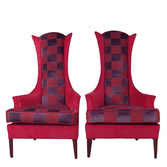 Hot Pink Greek Key Highback Wing Chairs - Pair - Image 1 of 7