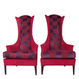 Hot Pink Greek Key Highback Wing Chairs - Pair