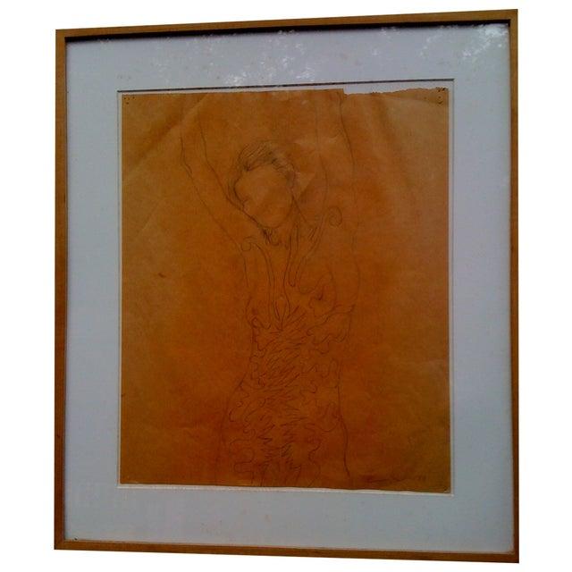 "Tom Wudl ""Stretching Woman"" Original Drawing - Image 1 of 5"