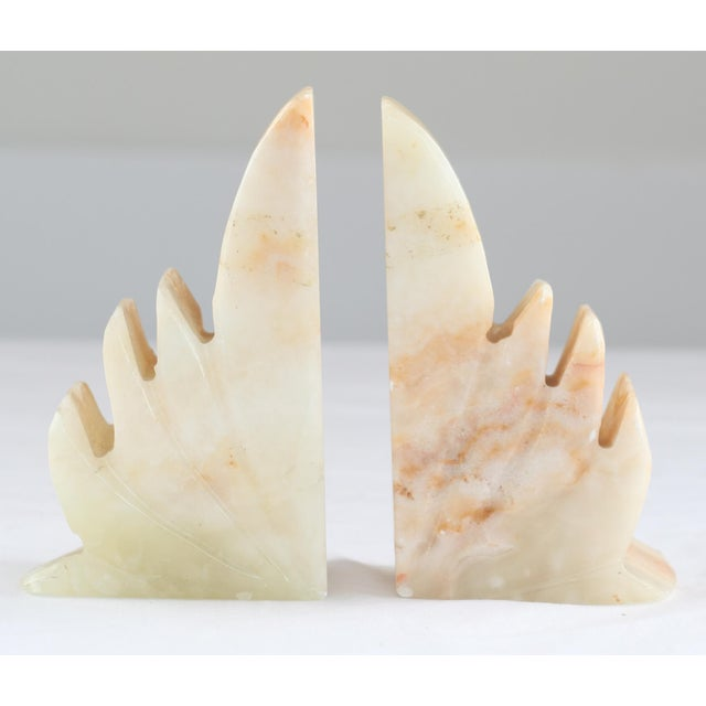 Image of Carved Sculptural Alabaster Bookends - A Pair
