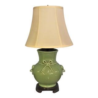 Chinese Celadon Porcelain Vase Lamp