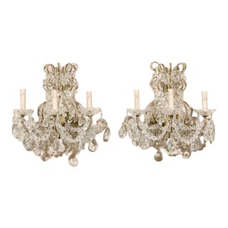 A Pair of Three-Light Italian Crystal Sconces