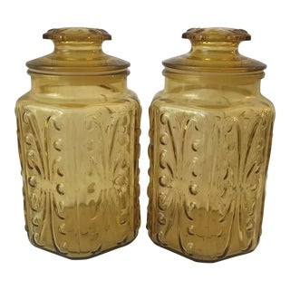 Mid-Century Amber Glass Apothecary Jars - A Pair