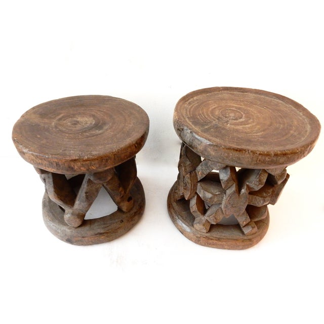 Bamileke Cameroon Low Stools - Pair - Image 2 of 7