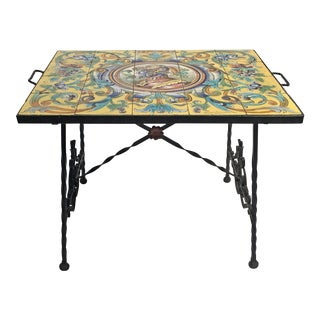 Spanish Ceramic Tile & Wrought Iron Table