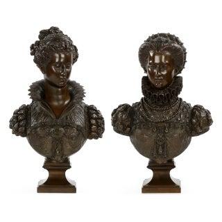 Mathurin Moreau Bronze Sculpture Renaissance Busts - A Pair