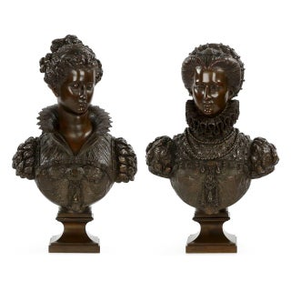 Mathurin Moreau Bronze Sculpture Renaissance Busts - A Pair