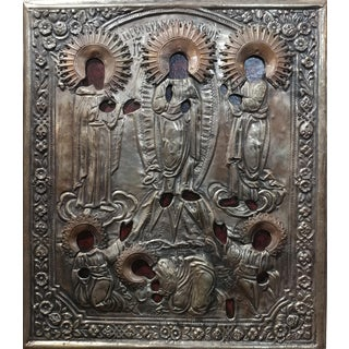 Antique Silver Plated Russian Icon