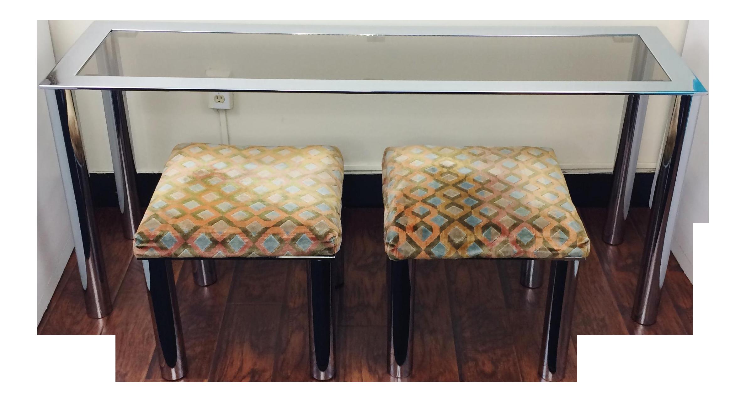 milo baughman mid century smoke glass chrome sofa table and velvet stools