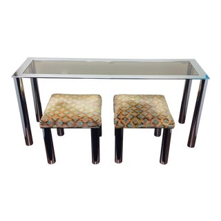 Milo Baughman Mid Century Smoke Glass Chrome Sofa Table and Velvet Stools