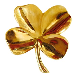 Vintage Gold Plated Brass 4-Leaf Clover