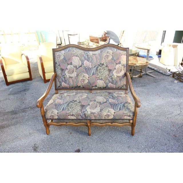 Solid Walnut Louis XIII Style Os De Mouton 2 Armchairs 1 settees Circa 1900s - Set of 3 - Image 5 of 11