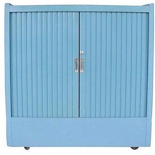 Blue Metal Cabinet With Tambor Doors
