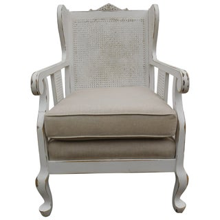 Vintage Cane Wing Chair