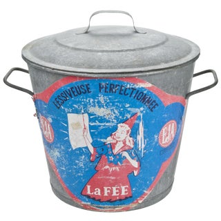 Vintage French La Fee Galvanized Laundry Bucket