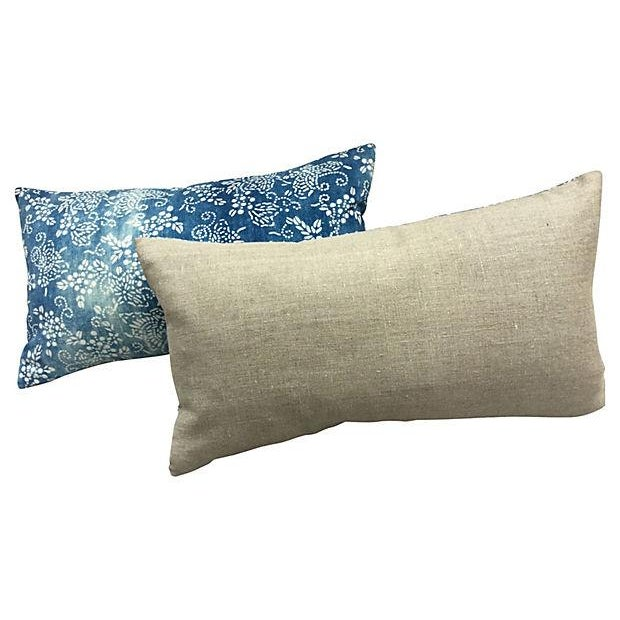 Faded Blue & White Batik Pillows - A Pair - Image 5 of 5