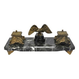 19th Century French Marble & Bronze Inkwell With Eagle