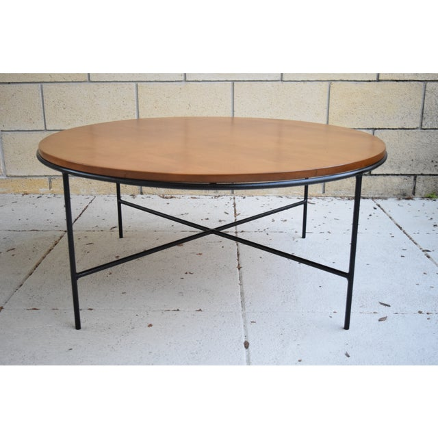 Paul McCobb Mid Century Modern Iron Base Round Coffee Table - Image 2 of 11