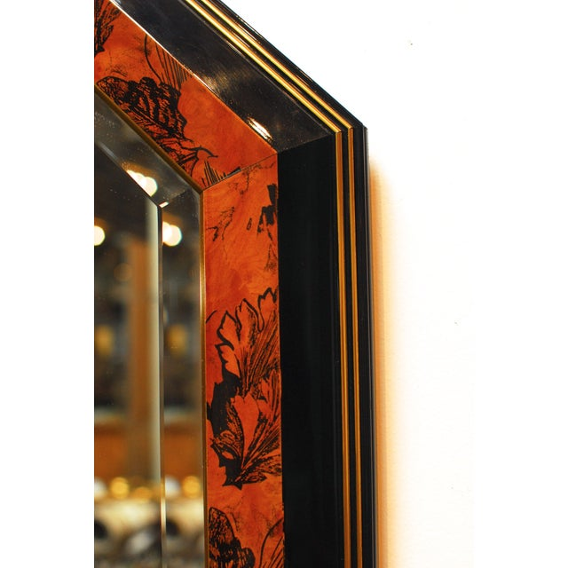Black Lacquer Octagonal Mirrors by Dolbi - A Pair - Image 3 of 5