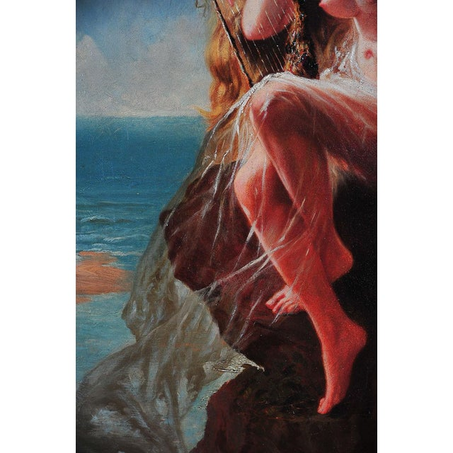 """""""Siren Looking at Sea"""" - 19th Century Oil Painting - Image 5 of 9"""