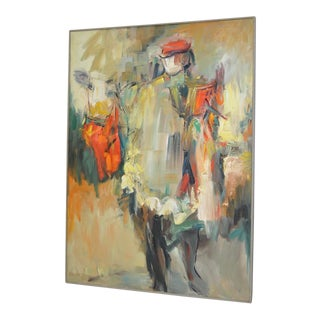 1960 Vintage Abstract Oil Painting by Lida Giambastiani