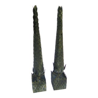 Sturdy Iron Topiary Cone Floor Lights - A Pair