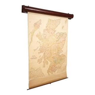 Blacks Large Tourist Map of Scotland in Retractable Mahogany Case