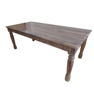 Reclaimed Teak Scroll Carved Dining Table