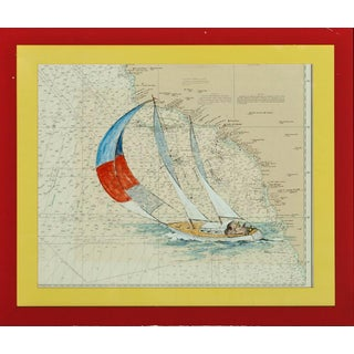 Catalina Island Sailboat Gouache by Renner