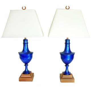 Metallic Blue Painted Stiffel Urn Lamps - A Pair