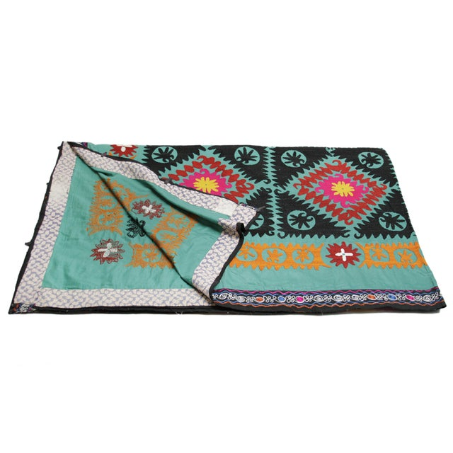Vintage Teal Suzani Tapestry - Image 4 of 4