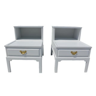 Asian Style Rose Wood White End Tables - Pair