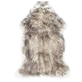 "100% Natural Sheepskin Rug, Black, Brindled Gray - 2'0"" x 3'0"""