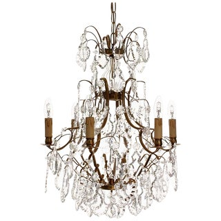 Baroque Chandelier, 6 Cognac Electrical Candles