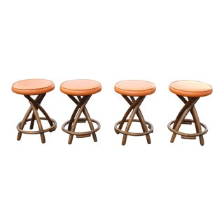 Mid-Century Modern Bentwood Orange Vinyl Counter Stools - Set of 4