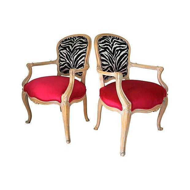Image of Vintage Pink & Zebra Print French Chairs - A Pair