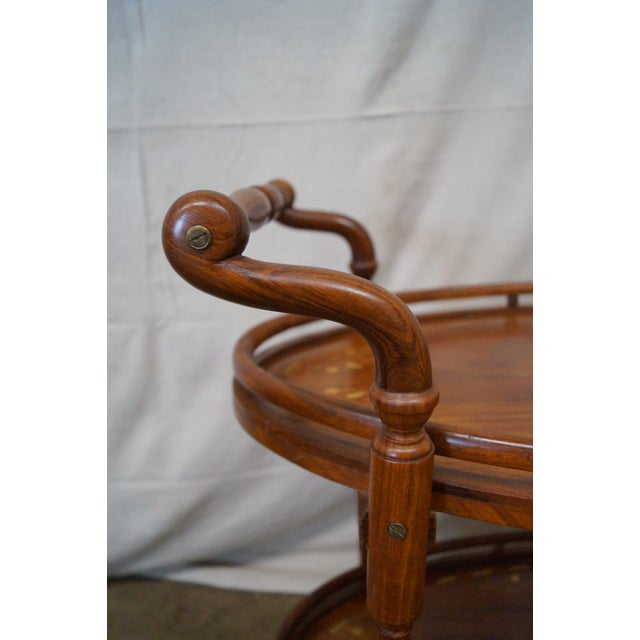 Image of Vintage Italian Marquetry Inlaid Serving Cart