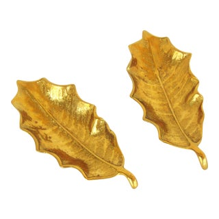 Virginia Metalcrafters Brass Holly Leaf Dishes - A Pair