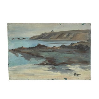 "1947 ""French Seascape at Brittany"" Oil Painting"