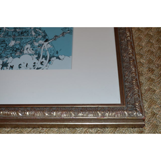 Image of Framed San Francisco Pictorial Landmark Map Print