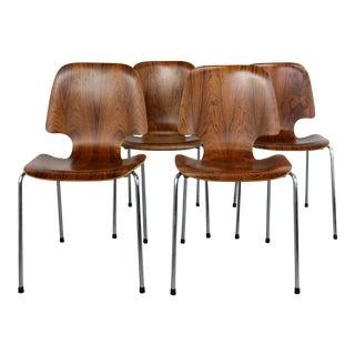 Danish Mid-Century Modern Bent Rosewood Italian Based Chairs- Set of 4